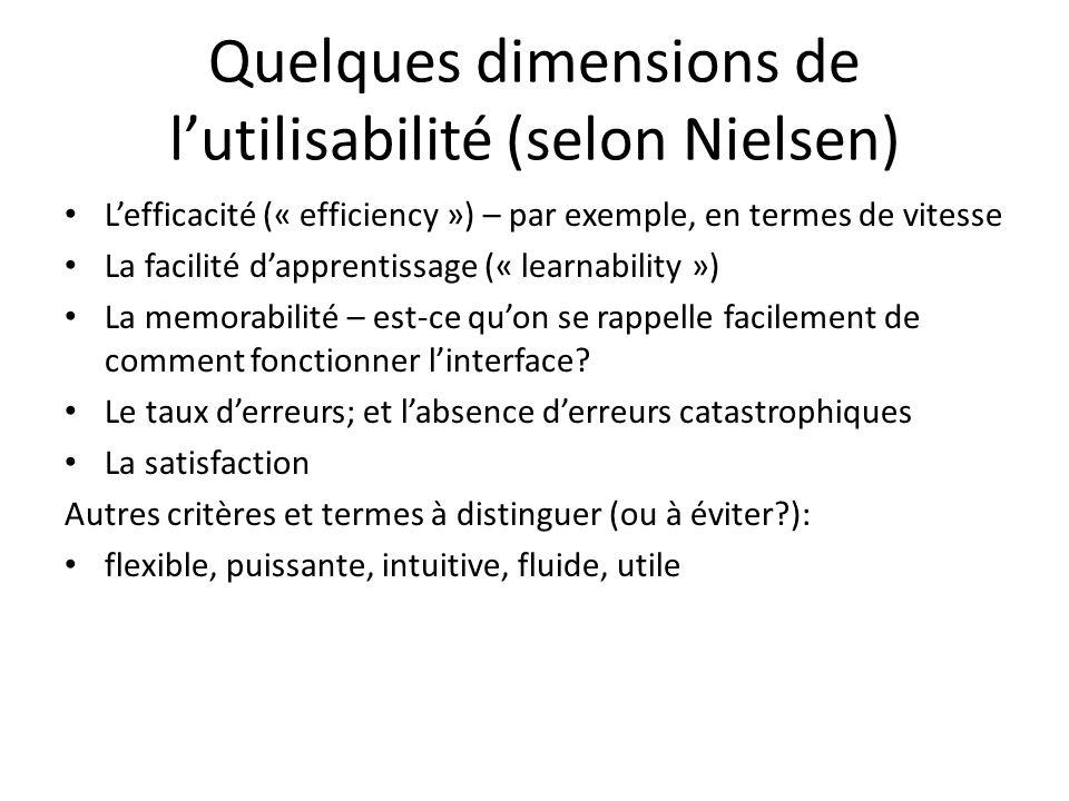 Quelques dimensions de lutilisabilité (selon Nielsen) Lefficacité (« efficiency ») – par exemple, en termes de vitesse La facilité dapprentissage (« l