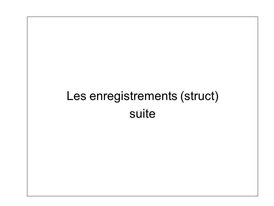 Struct Rappel Enregistrement : Suite de données pouvant être de types différents, accessibles via une seule variable et le nom des champs.