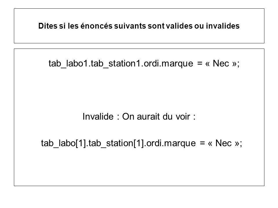Dites si les énoncés suivants sont valides ou invalides tab_labo1.tab_station1.ordi.marque = « Nec »; Invalide : On aurait du voir : tab_labo[1].tab_station[1].ordi.marque = « Nec »;