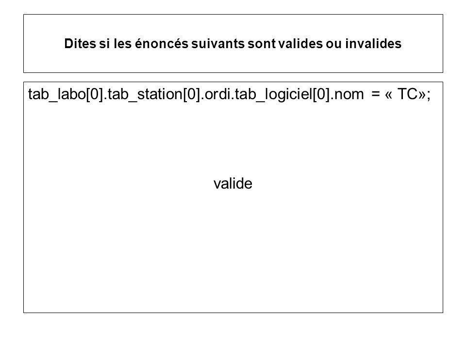 Dites si les énoncés suivants sont valides ou invalides tab_labo[0].tab_station[0].ordi.tab_logiciel[0].nom = « TC»; valide