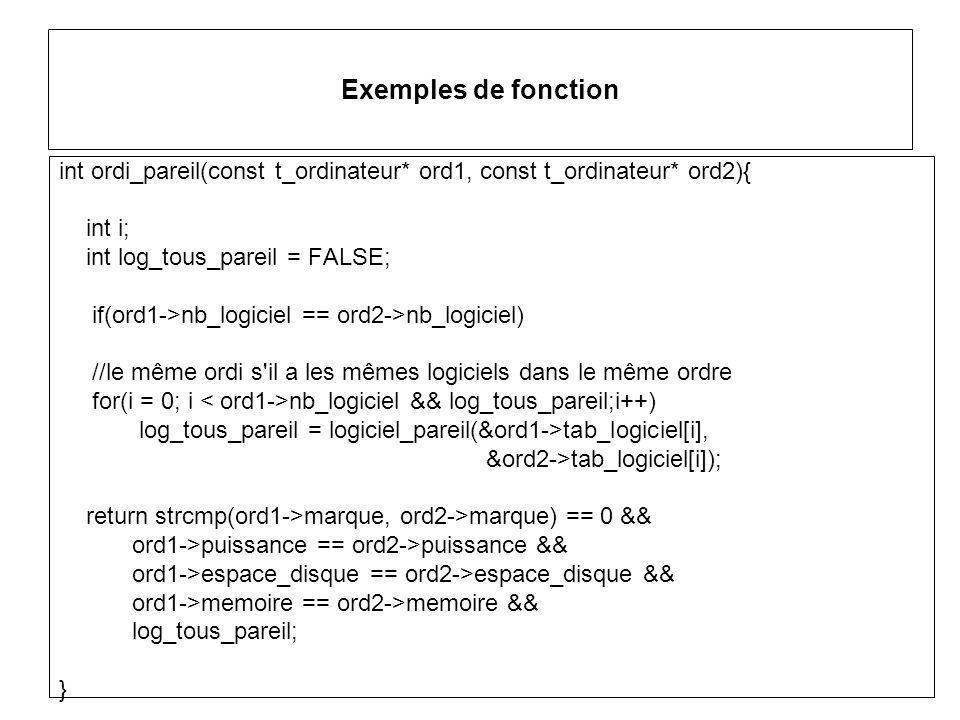 Exemples de fonction int ordi_pareil(const t_ordinateur* ord1, const t_ordinateur* ord2){ int i; int log_tous_pareil = FALSE; if(ord1->nb_logiciel == ord2->nb_logiciel) //le même ordi s il a les mêmes logiciels dans le même ordre for(i = 0; i nb_logiciel && log_tous_pareil;i++) log_tous_pareil = logiciel_pareil(&ord1->tab_logiciel[i], &ord2->tab_logiciel[i]); return strcmp(ord1->marque, ord2->marque) == 0 && ord1->puissance == ord2->puissance && ord1->espace_disque == ord2->espace_disque && ord1->memoire == ord2->memoire && log_tous_pareil; }