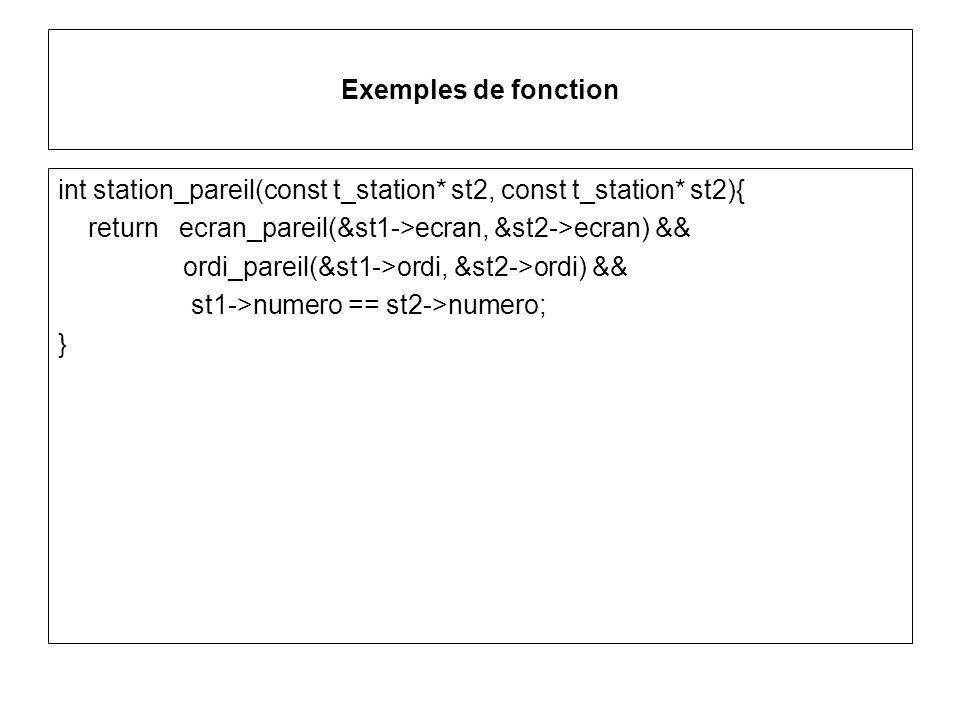 Exemples de fonction int station_pareil(const t_station* st2, const t_station* st2){ return ecran_pareil(&st1->ecran, &st2->ecran) && ordi_pareil(&st1->ordi, &st2->ordi) && st1->numero == st2->numero; }