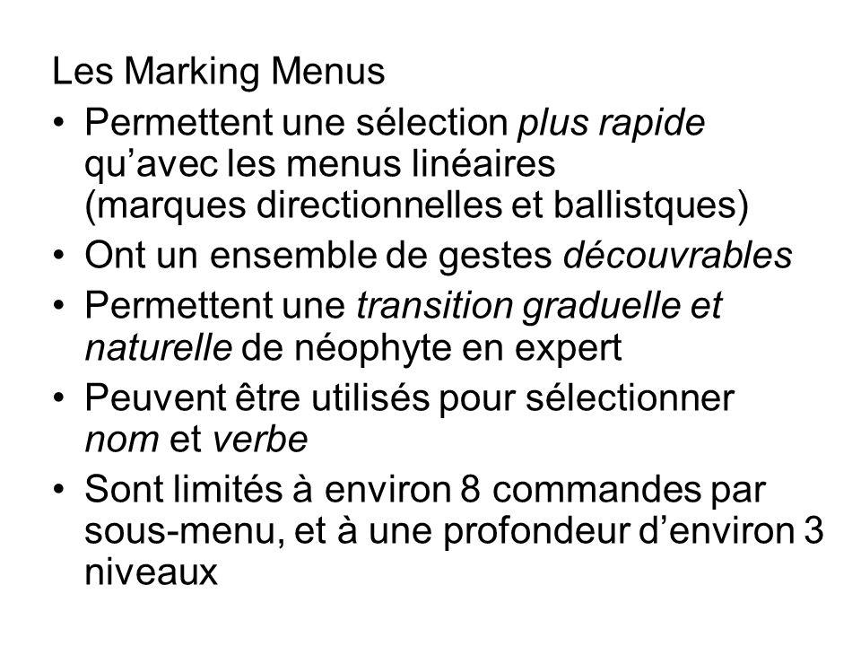 Les Marking Menus Permettent une sélection plus rapide quavec les menus linéaires (marques directionnelles et ballistques) Ont un ensemble de gestes d