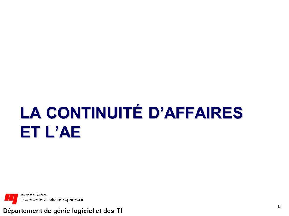Département de génie logiciel et des TI Université du Québec École de technologie supérieure LA CONTINUITÉ DAFFAIRES ET LAE 14