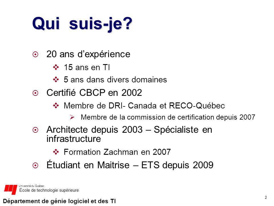 Département de génie logiciel et des TI Université du Québec École de technologie supérieure Qui suis-je? 20 ans dexpérience 15 ans en TI 5 ans dans d
