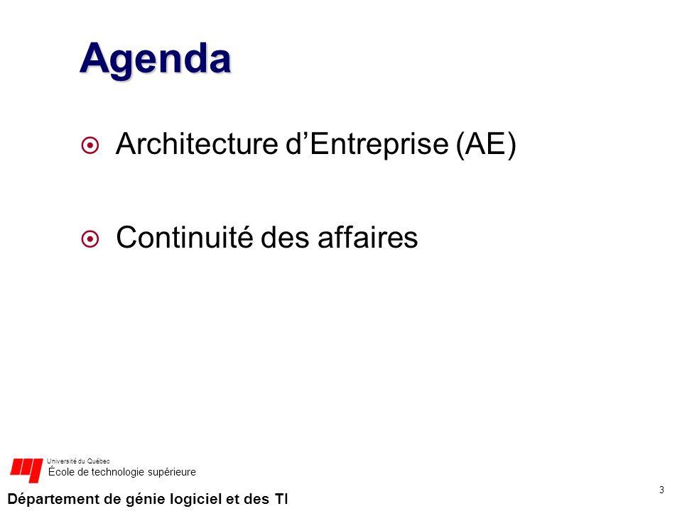 Département de génie logiciel et des TI Université du Québec École de technologie supérieure Agenda Architecture dEntreprise (AE) Continuité des affai