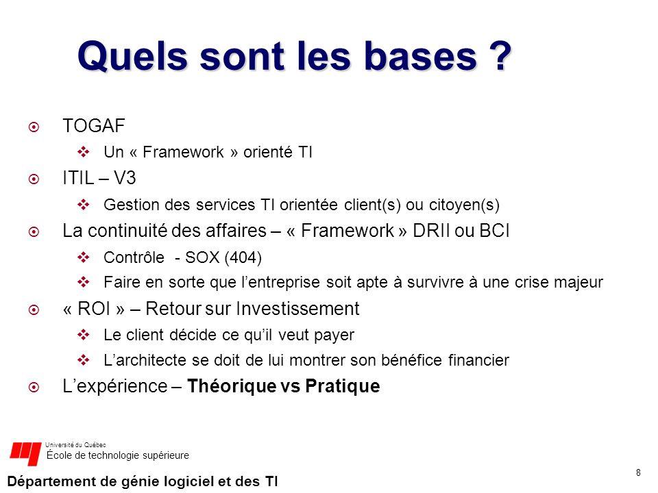 Département de génie logiciel et des TI Université du Québec École de technologie supérieure Quels sont les bases ? TOGAF Un « Framework » orienté TI