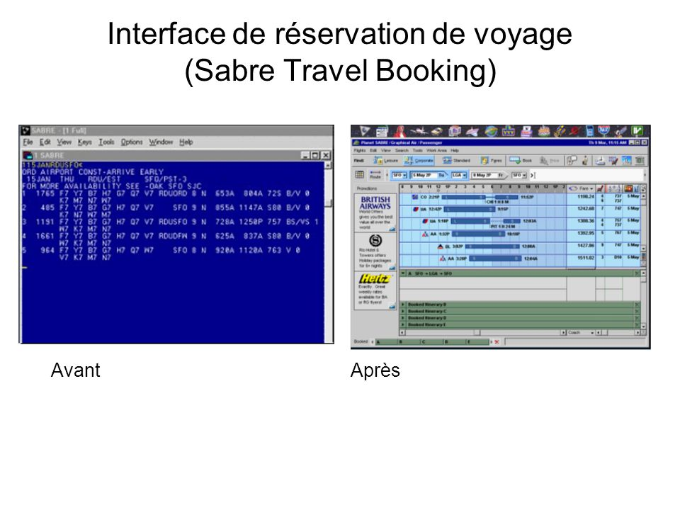 Interface de réservation de voyage (Sabre Travel Booking) AvantAprès