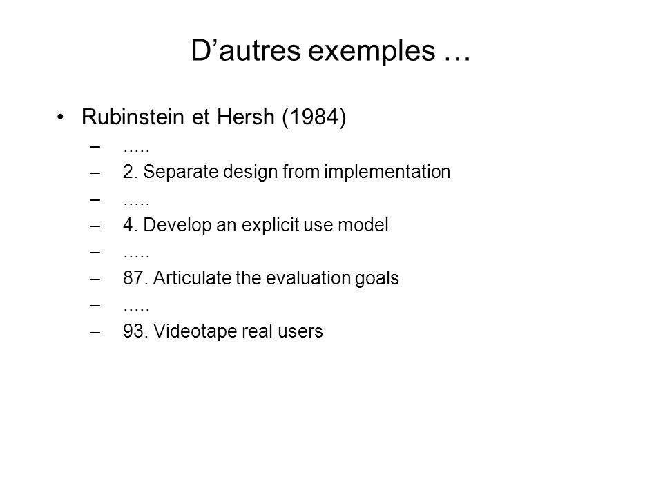 Quelques directives de conception du prof. Ronald Baecker (modifiées by M. McGuffin) …