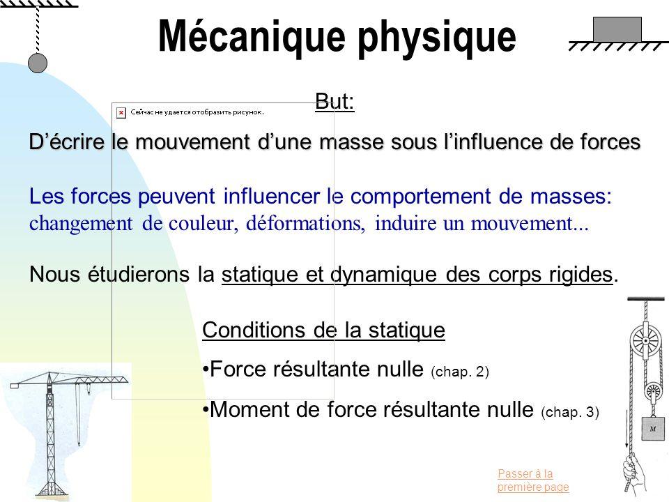 Passer à la première page Mécanique physique But: Décrire le mouvement dune masse sous linfluence de forces Les forces peuvent influencer le comportem