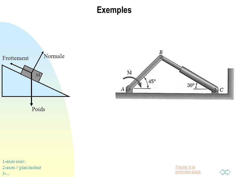 Passer à la première page Exemples Poids Normale Frottement 1-axes conv. 2-axes // plan incliné 3-... M
