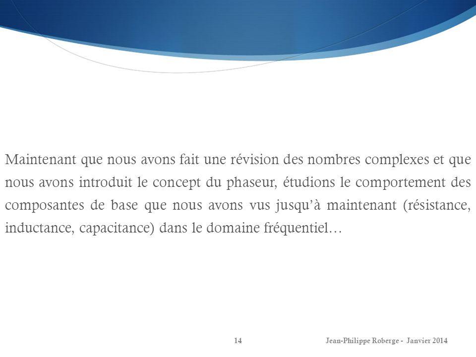 Jean-Philippe Roberge - Janvier 201414 Maintenant que nous avons fait une révision des nombres complexes et que nous avons introduit le concept du pha