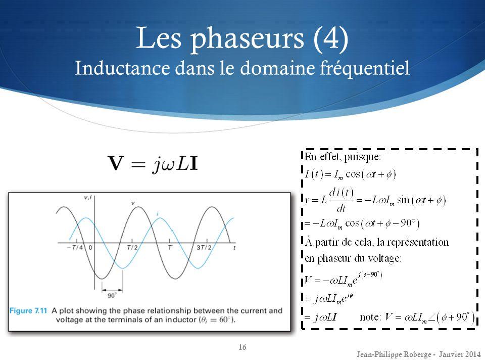 Les phaseurs (4) Inductance dans le domaine fréquentiel 16 Jean-Philippe Roberge - Janvier 2014
