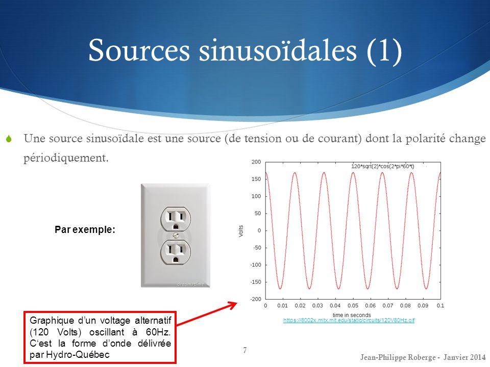 Sources sinusoïdales (2) La valeur dune source de tension ou dune source de courant sinusoïdale sexprime à laide de la fonction trigonométrique sinus ou encore cosinus.