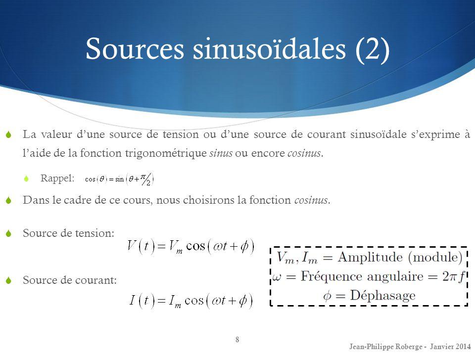 Sources sinusoïdales (3) Valeur RMS ( Root Mean Square ) Fréquemment, lorsque lon travaille avec des sources sinusoïdales, une quantité que lon étudie est la valeur rms ( root mean square ).