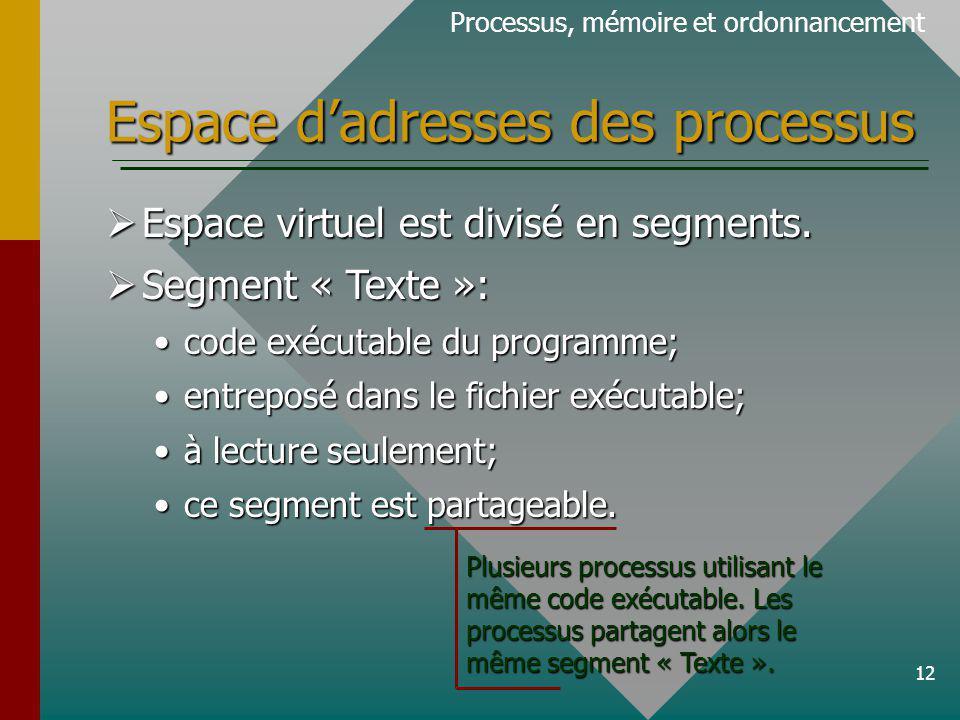 12 Espace dadresses des processus Espace virtuel est divisé en segments. Espace virtuel est divisé en segments. Segment « Texte »: Segment « Texte »: