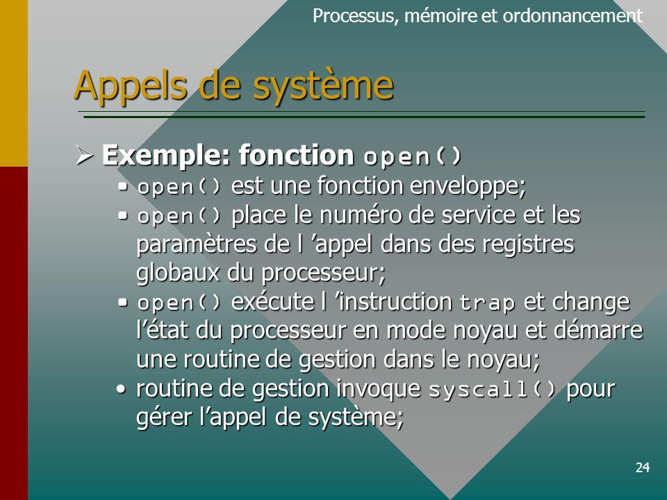24 Appels de système Processus, mémoire et ordonnancement Exemple: fonction open() Exemple: fonction open() open() est une fonction enveloppe;open() est une fonction enveloppe; open() place le numéro de service et les paramètres de l appel dans des registres globaux du processeur;open() place le numéro de service et les paramètres de l appel dans des registres globaux du processeur; open() exécute l instruction trap et change létat du processeur en mode noyau et démarre une routine de gestion dans le noyau;open() exécute l instruction trap et change létat du processeur en mode noyau et démarre une routine de gestion dans le noyau; routine de gestion invoque syscall() pour gérer lappel de système;routine de gestion invoque syscall() pour gérer lappel de système;