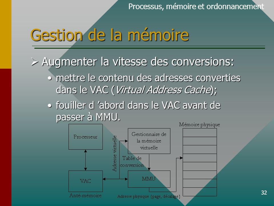 32 Gestion de la mémoire Processus, mémoire et ordonnancement Augmenter la vitesse des conversions: Augmenter la vitesse des conversions: mettre le contenu des adresses converties dans le VAC (Virtual Address Cache);mettre le contenu des adresses converties dans le VAC (Virtual Address Cache); fouiller d abord dans le VAC avant de passer à MMU.fouiller d abord dans le VAC avant de passer à MMU.
