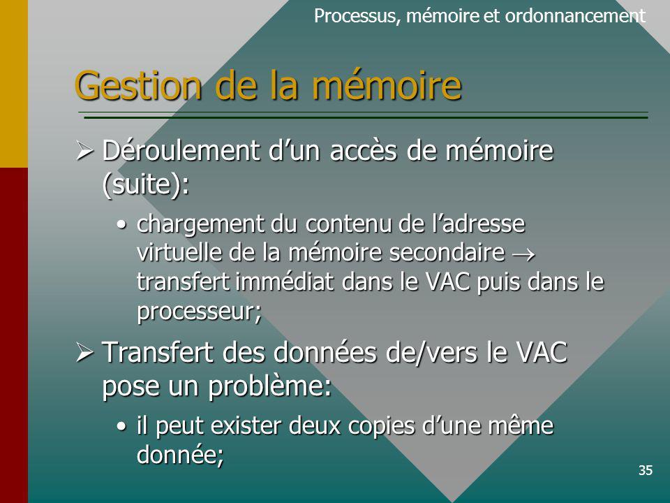35 Gestion de la mémoire Processus, mémoire et ordonnancement Déroulement dun accès de mémoire (suite): Déroulement dun accès de mémoire (suite): chargement du contenu de ladresse virtuelle de la mémoire secondaire transfert immédiat dans le VAC puis dans le processeur;chargement du contenu de ladresse virtuelle de la mémoire secondaire transfert immédiat dans le VAC puis dans le processeur; Transfert des données de/vers le VAC pose un problème: Transfert des données de/vers le VAC pose un problème: il peut exister deux copies dune même donnée;il peut exister deux copies dune même donnée;