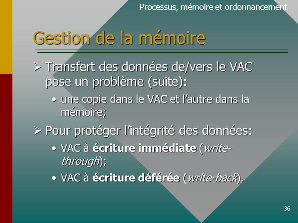 36 Gestion de la mémoire Processus, mémoire et ordonnancement Transfert des données de/vers le VAC pose un problème (suite): Transfert des données de/vers le VAC pose un problème (suite): une copie dans le VAC et lautre dans la mémoire;une copie dans le VAC et lautre dans la mémoire; Pour protéger lintégrité des données: Pour protéger lintégrité des données: VAC à écriture immédiate (write- through);VAC à écriture immédiate (write- through); VAC à écriture déférée (write-back).VAC à écriture déférée (write-back).