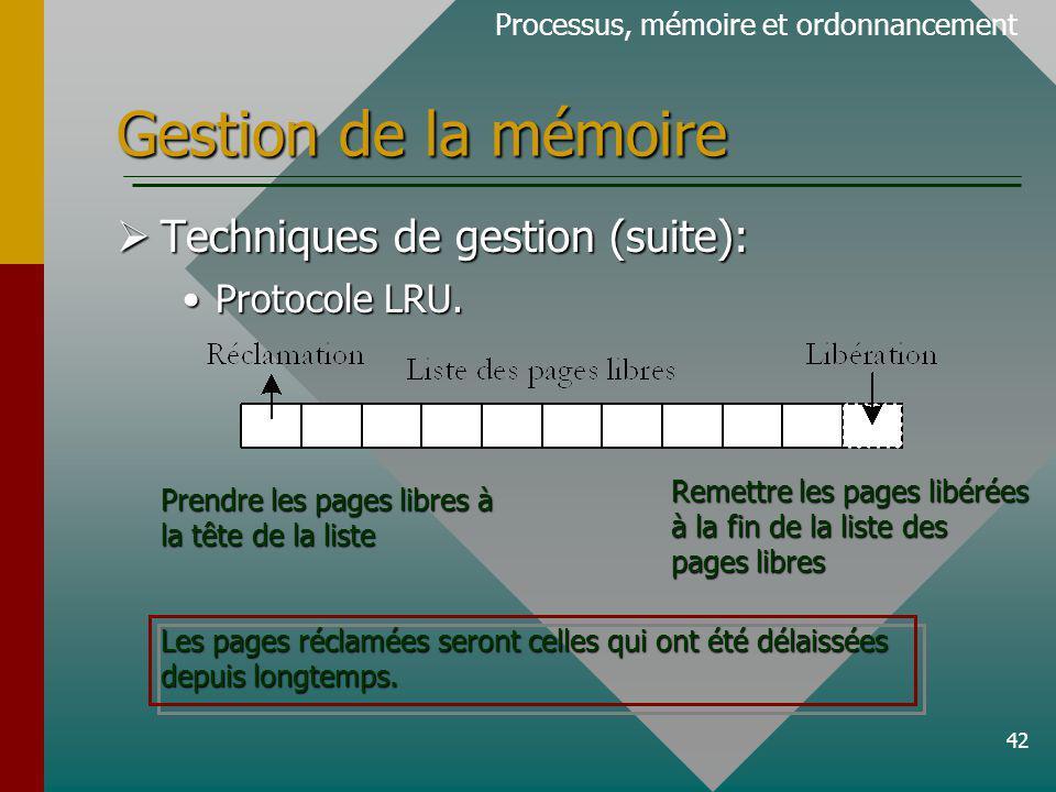42 Gestion de la mémoire Processus, mémoire et ordonnancement Techniques de gestion (suite): Techniques de gestion (suite): Protocole LRU.Protocole LRU.