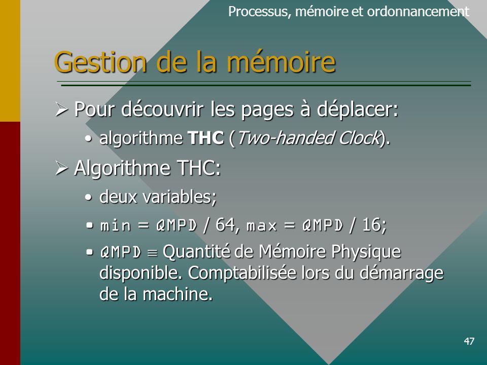 47 Gestion de la mémoire Processus, mémoire et ordonnancement Pour découvrir les pages à déplacer: Pour découvrir les pages à déplacer: algorithme THC (Two-handed Clock).algorithme THC (Two-handed Clock).