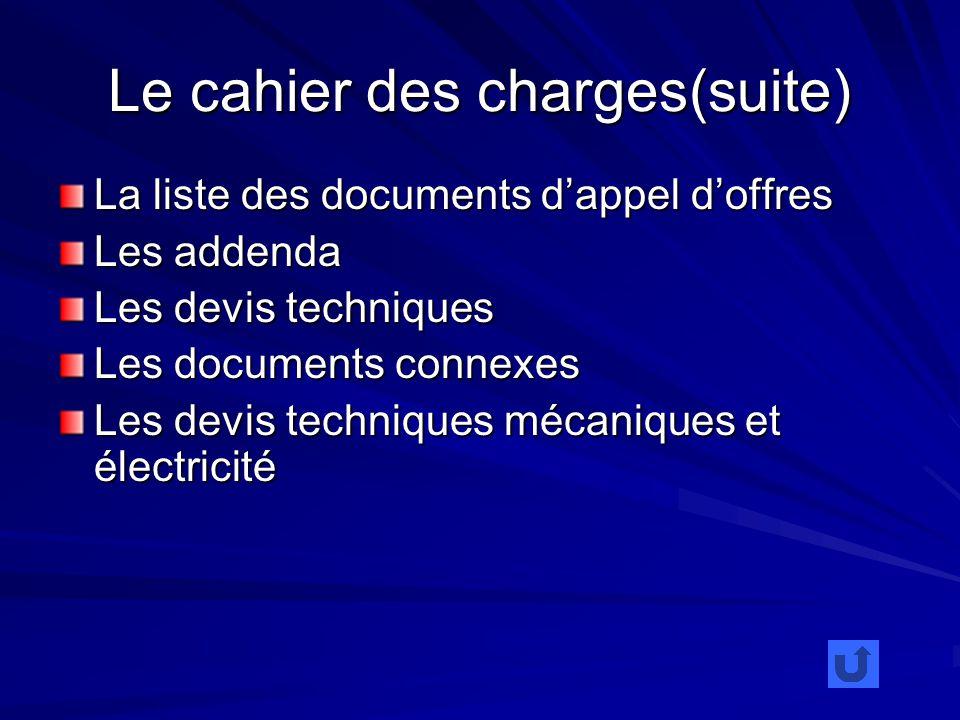 Le cahier des charges(suite) La liste des documents dappel doffres Les addenda Les devis techniques Les documents connexes Les devis techniques mécaniques et électricité