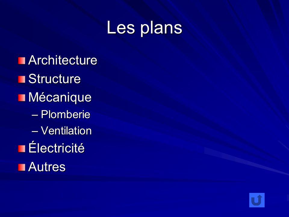 Les plans ArchitectureStructureMécanique –Plomberie –Ventilation ÉlectricitéAutres