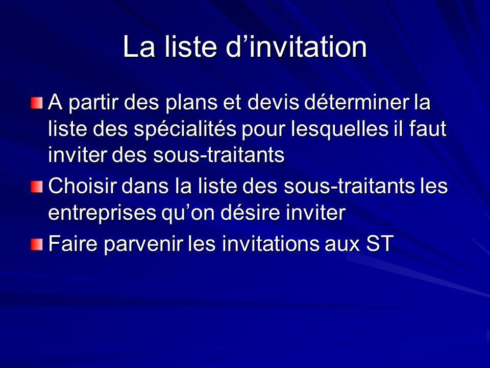 La liste dinvitation A partir des plans et devis déterminer la liste des spécialités pour lesquelles il faut inviter des sous-traitants Choisir dans l