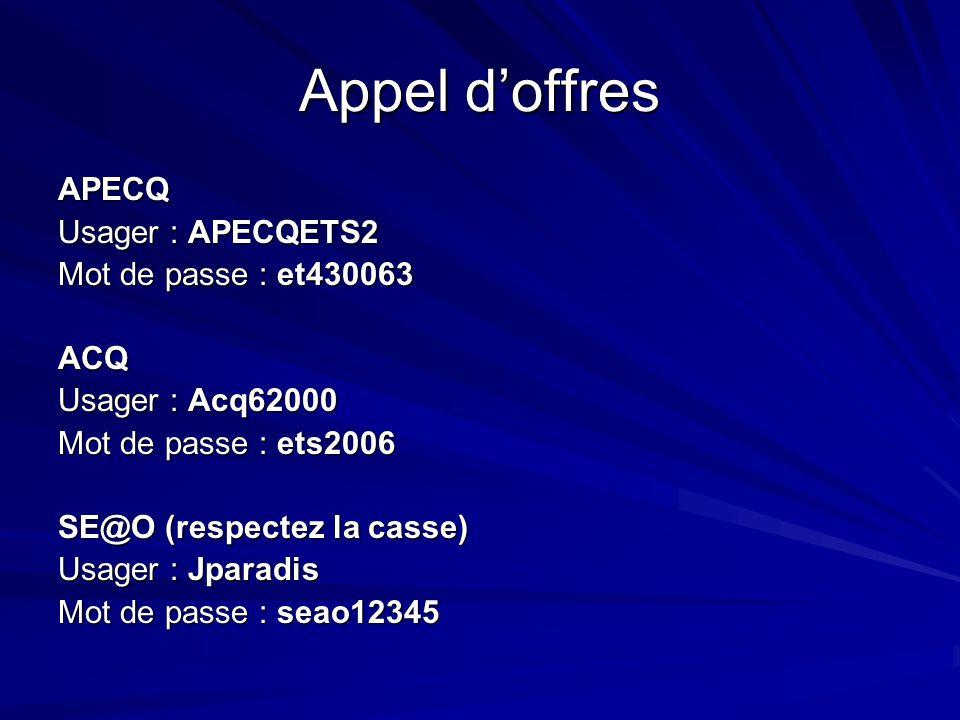 Appel doffres APECQ Usager : APECQETS2 Mot de passe : et430063 ACQ Usager : Acq62000 Mot de passe : ets2006 SE@O (respectez la casse) Usager : Jparadi