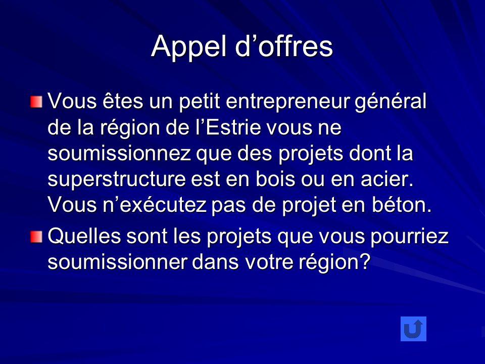 Appel doffres Vous êtes un petit entrepreneur général de la région de lEstrie vous ne soumissionnez que des projets dont la superstructure est en bois