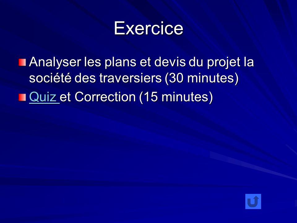 Exercice Analyser les plans et devis du projet la société des traversiers (30 minutes) Quiz Quiz et Correction (15 minutes) Quiz