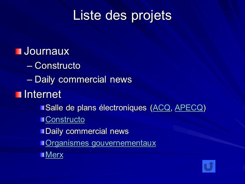Liste des projets Journaux –Constructo –Daily commercial news Internet Salle de plans électroniques (ACQ, APECQ) ACQAPECQACQAPECQ Constructo Daily commercial news Organismes gouvernementaux Organismes gouvernementaux Merx