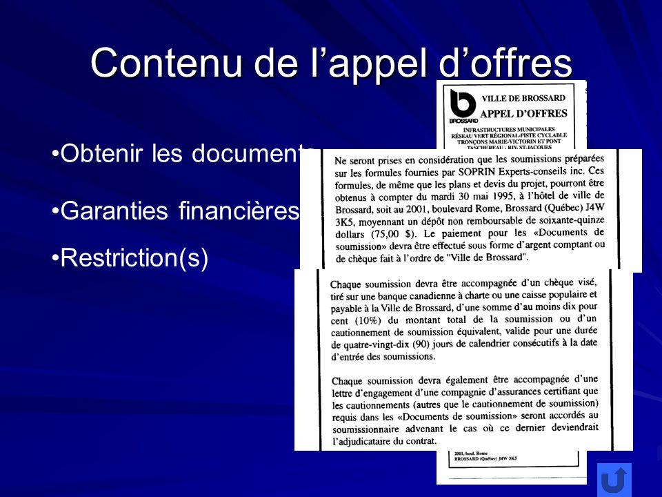 Contenu de lappel doffres Obtenir les documents Garanties financières Restriction(s)