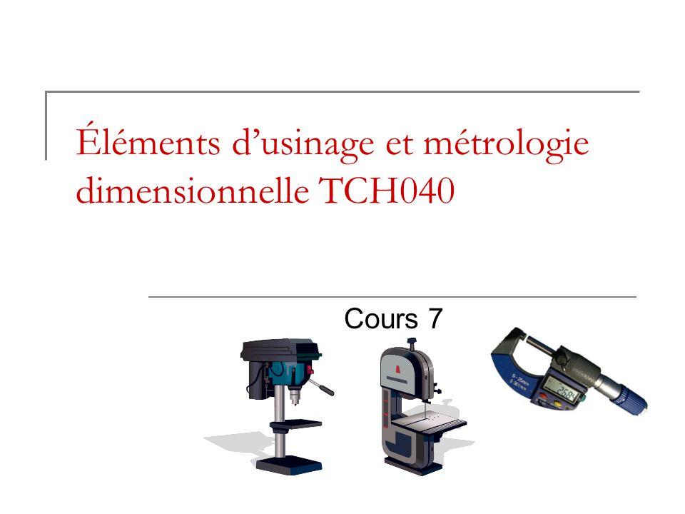 Éléments dusinage et métrologie dimensionnelle TCH040 Cours 7