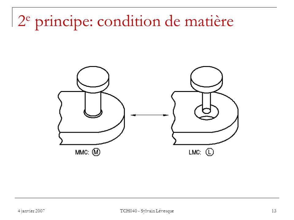 4 janvier 2007 TCH040 - Sylvain Lévesque 13 2 e principe: condition de matière
