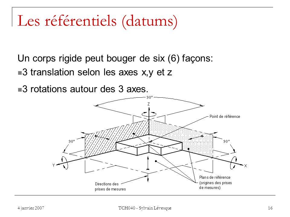 4 janvier 2007 TCH040 - Sylvain Lévesque 16 Les référentiels (datums) Un corps rigide peut bouger de six (6) façons: 3 translation selon les axes x,y et z 3 rotations autour des 3 axes.