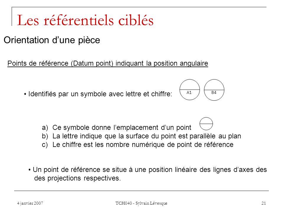 4 janvier 2007 TCH040 - Sylvain Lévesque 21 Les référentiels ciblés Points de référence (Datum point) indiquant la position angulaire Identifiés par un symbole avec lettre et chiffre: A1 B4 a)Ce symbole donne lemplacement dun point b)La lettre indique que la surface du point est parallèle au plan c)Le chiffre est les nombre numérique de point de référence Un point de référence se situe à une position linéaire des lignes daxes des des projections respectives.