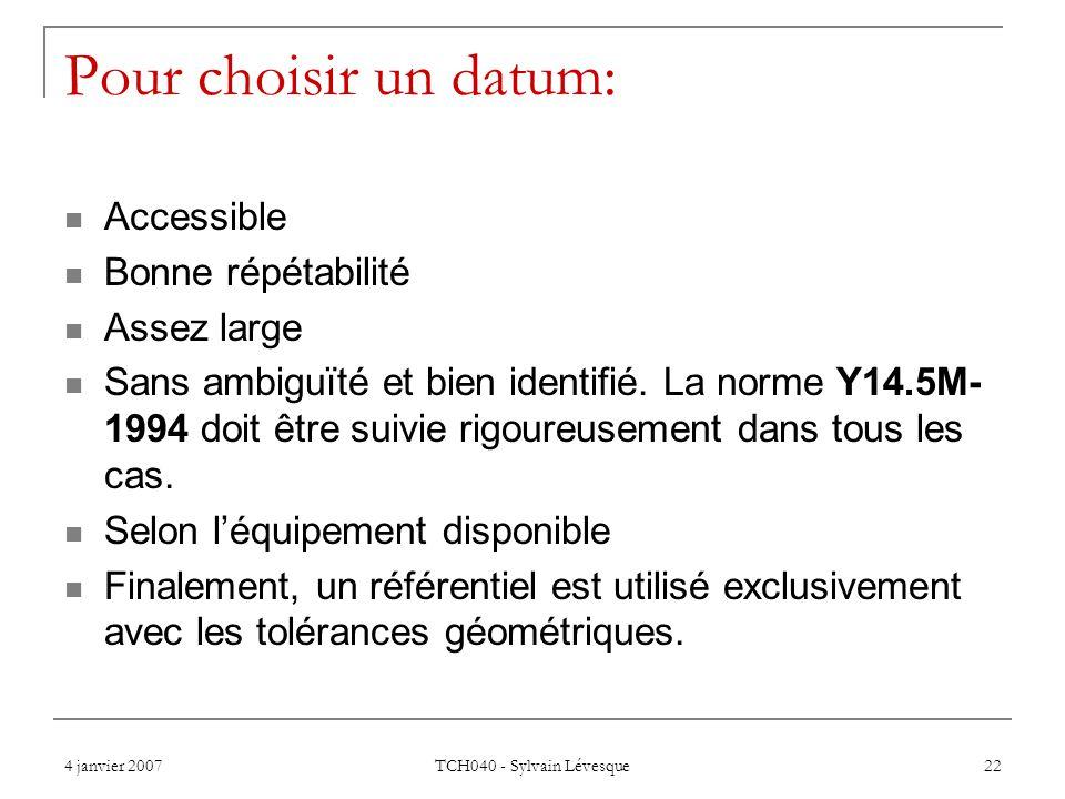 4 janvier 2007 TCH040 - Sylvain Lévesque 22 Pour choisir un datum: Accessible Bonne répétabilité Assez large Sans ambiguïté et bien identifié. La norm