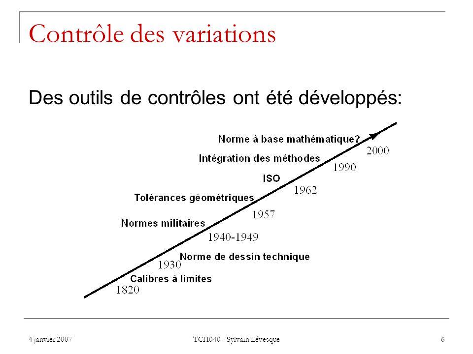 4 janvier 2007 TCH040 - Sylvain Lévesque 17 Les référentiels (datums) Pour fixer un objet, il nous faut au moins 6 points de contact.