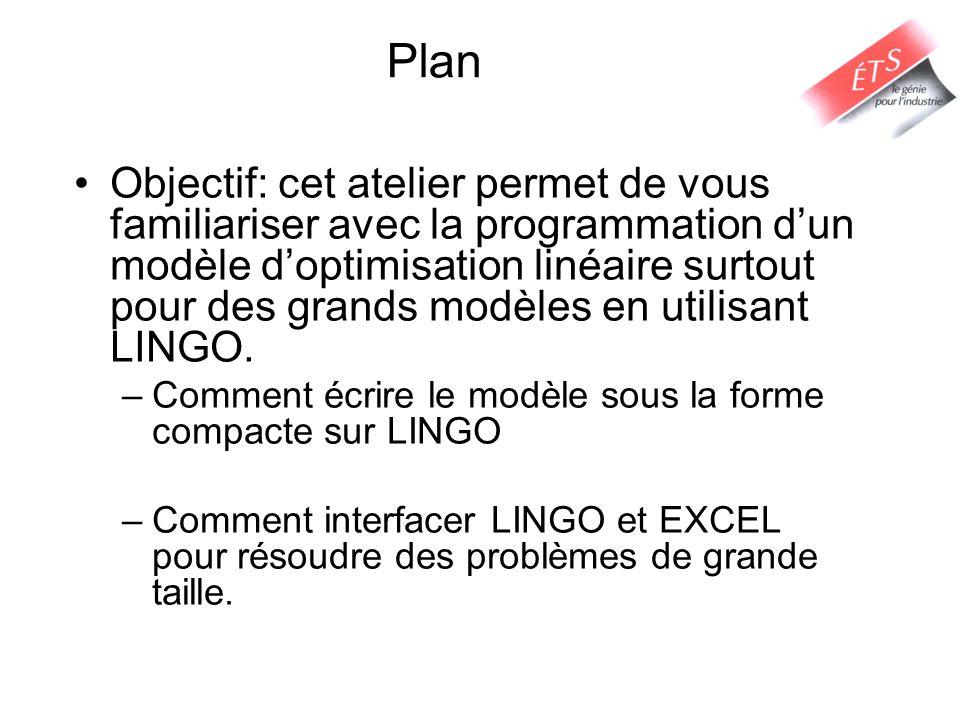 Interface entre LINGO et EXCEL Comment faire.