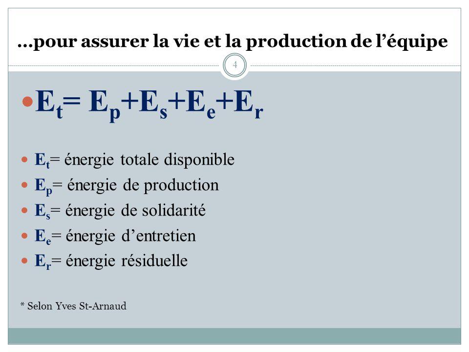 …pour assurer la vie et la production de léquipe E t = E p +E s +E e +E r E t = énergie totale disponible E p = énergie de production E s = énergie de solidarité E e = énergie dentretien E r = énergie résiduelle * Selon Yves St-Arnaud 4