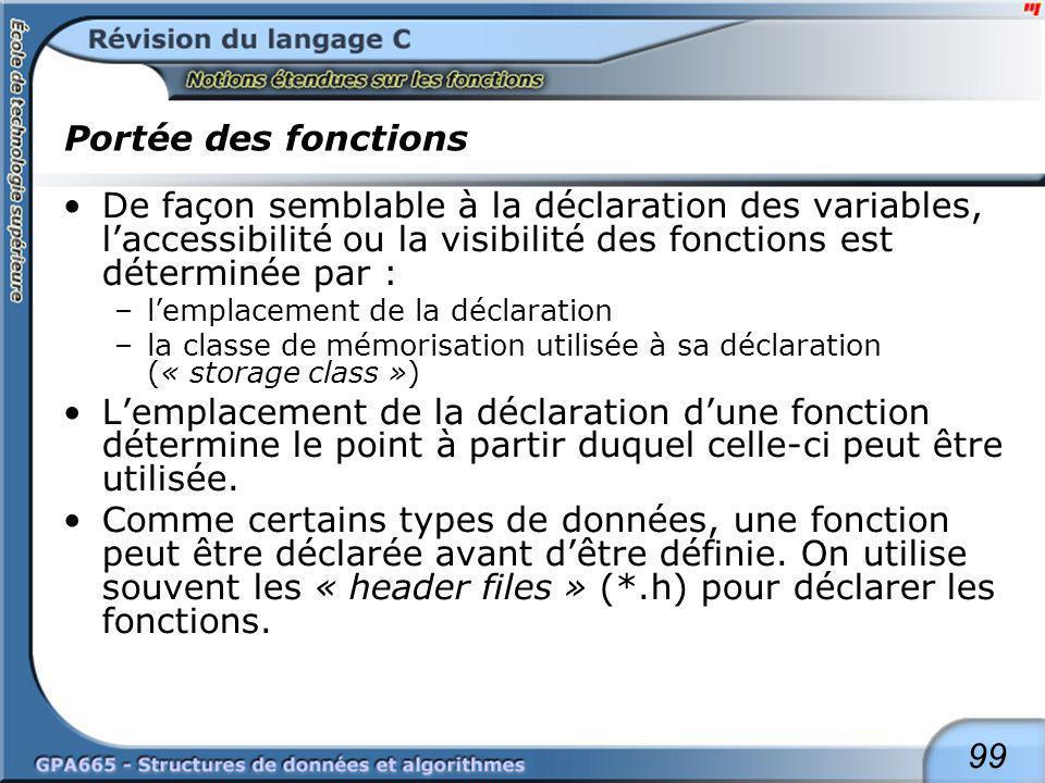 99 Portée des fonctions De façon semblable à la déclaration des variables, laccessibilité ou la visibilité des fonctions est déterminée par : –lemplac