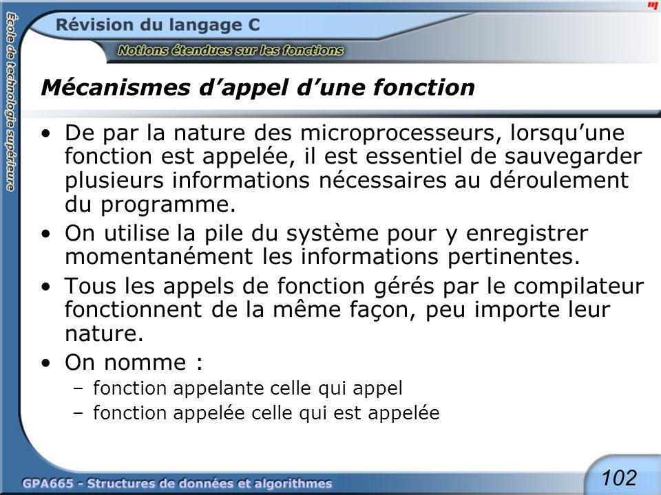 102 Mécanismes dappel dune fonction De par la nature des microprocesseurs, lorsquune fonction est appelée, il est essentiel de sauvegarder plusieurs i