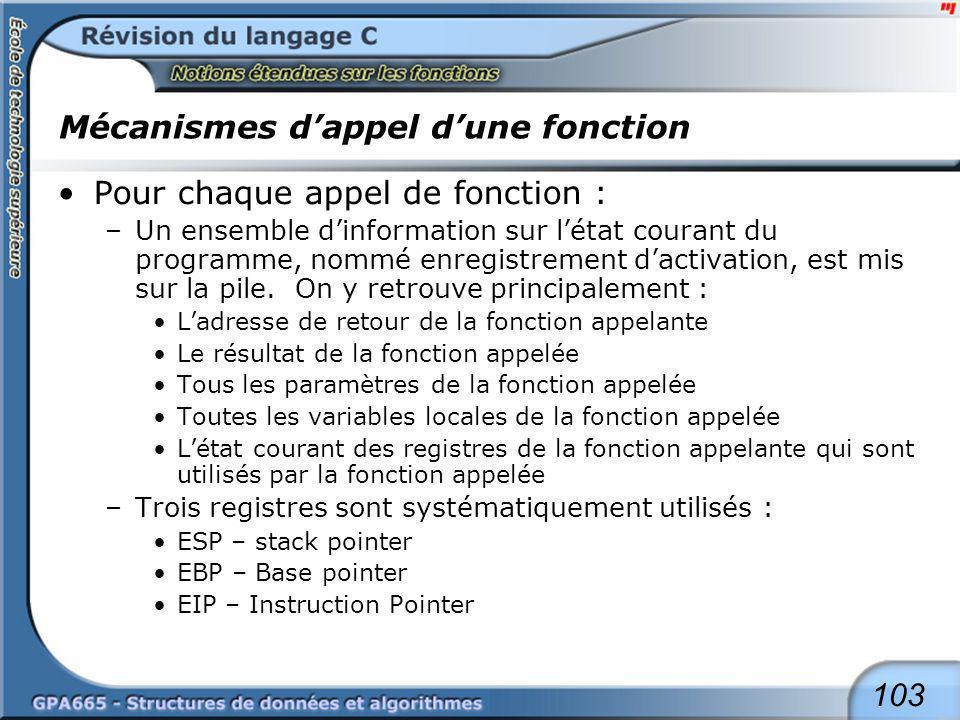 103 Mécanismes dappel dune fonction Pour chaque appel de fonction : –Un ensemble dinformation sur létat courant du programme, nommé enregistrement dac