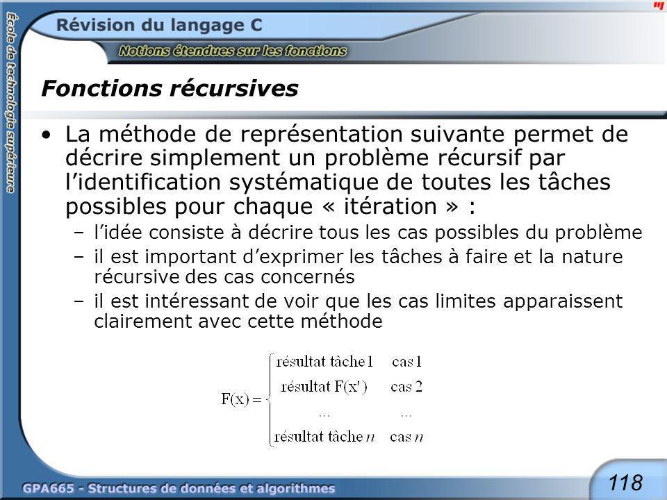 118 Fonctions récursives La méthode de représentation suivante permet de décrire simplement un problème récursif par lidentification systématique de t