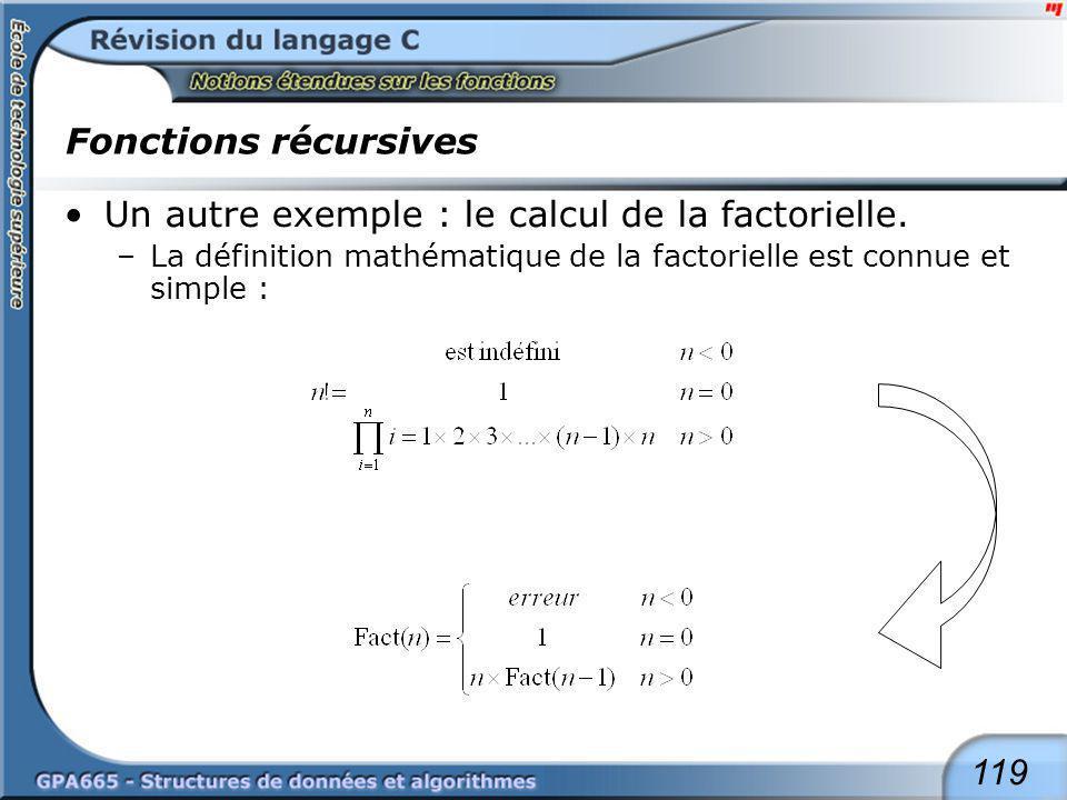 119 Fonctions récursives Un autre exemple : le calcul de la factorielle. –La définition mathématique de la factorielle est connue et simple :