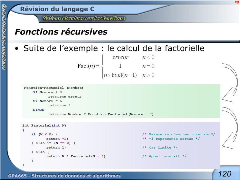 120 Fonctions récursives Suite de lexemple : le calcul de la factorielle Fonction-Factoriel (Nombre) SI Nombre < 0 retourne erreur Si Nombre = 0 retou