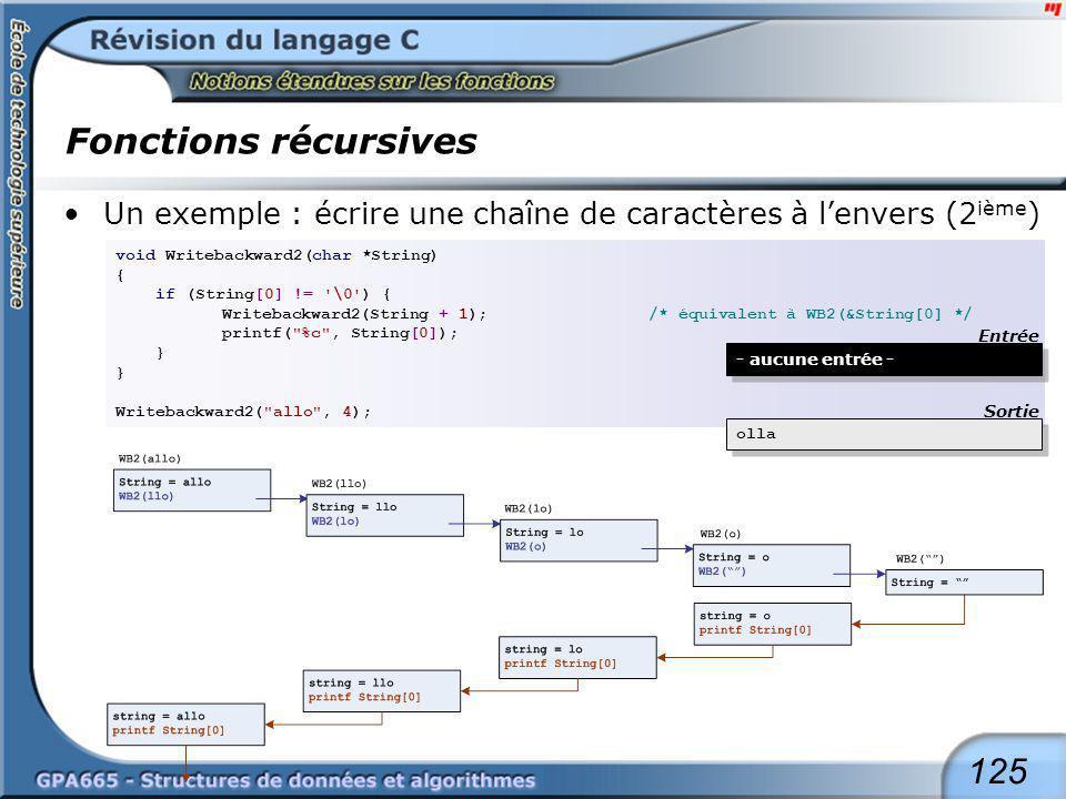 125 Fonctions récursives Un exemple : écrire une chaîne de caractères à lenvers (2 ième ) void Writebackward2(char *String) { if (String[0] != '\0') {
