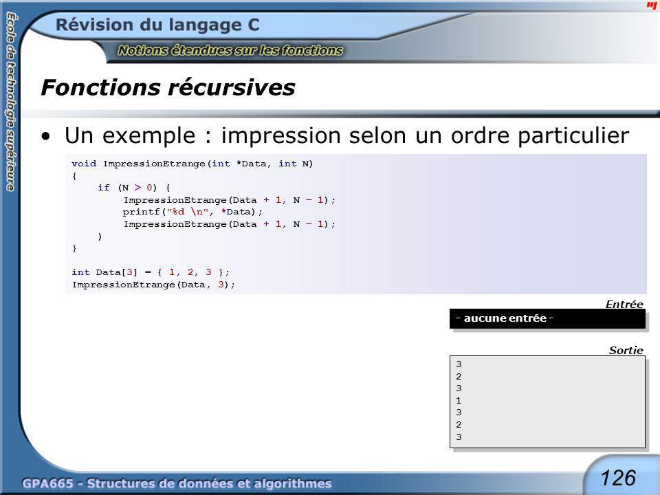 126 Fonctions récursives Un exemple : impression selon un ordre particulier void ImpressionEtrange(int *Data, int N) { if (N > 0) { ImpressionEtrange(